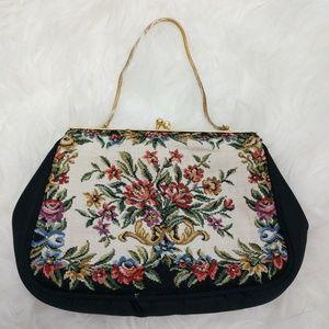 Vintage Petit Point Floral Black Clutch Purse